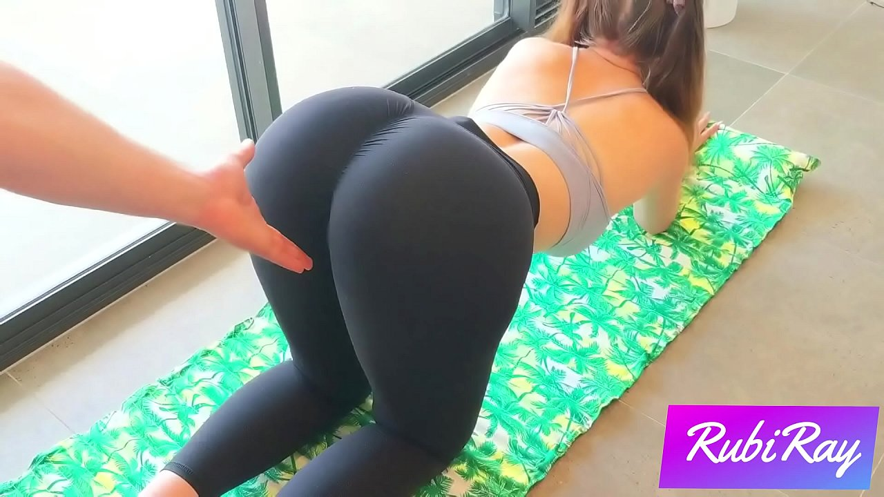Yoga pants stuck in a girl pussy