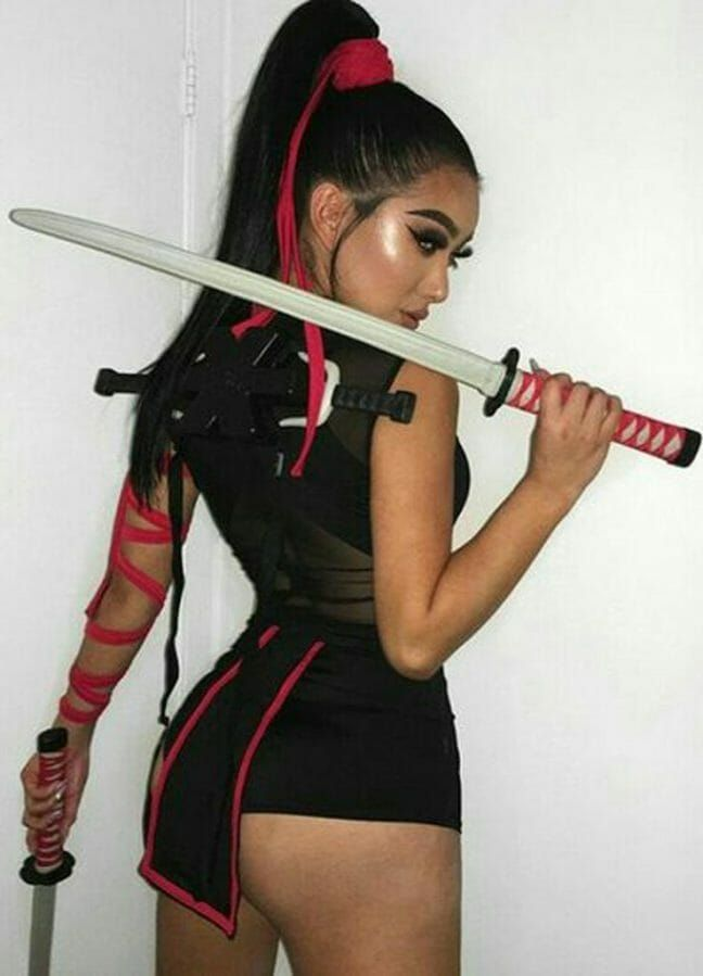 Asian girl in sexy valentines costume