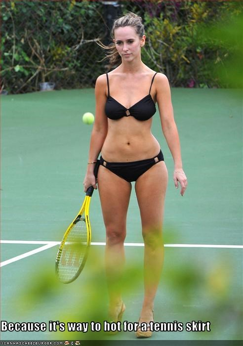 Hot girl in tennis outfit
